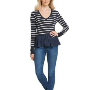 New DKNY Striped Pullover Sweater Top